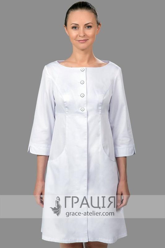 Модний мед халат білого кольору Одрі - інтернет-магазин ТМ Грація dfce44f73a9f5