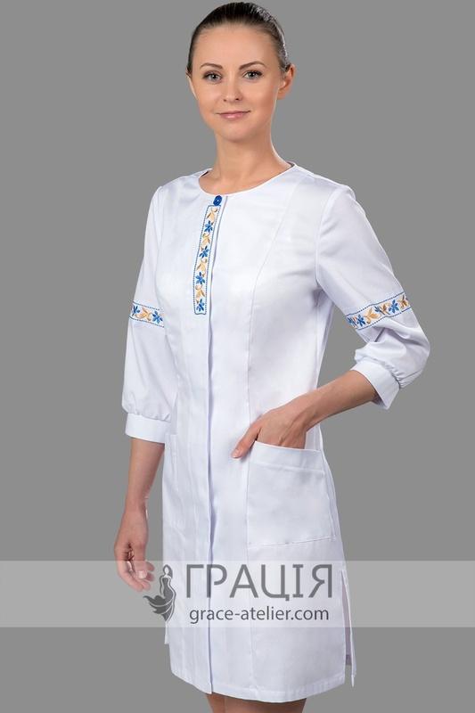 Медичний халат Роксолана з українською вишивкою в інтернет-магазині ... 9a5f3671c9547